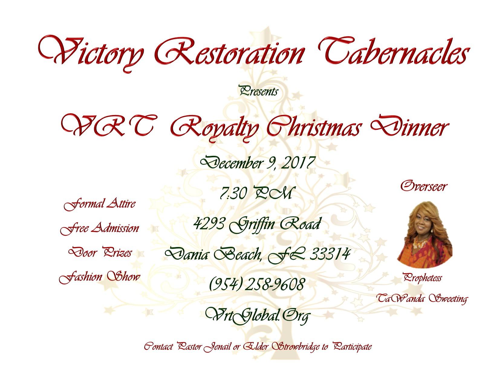 Christmas Dinner Prayer.Royal Christmas Dinner Victory Restoration Tabernacles Inc